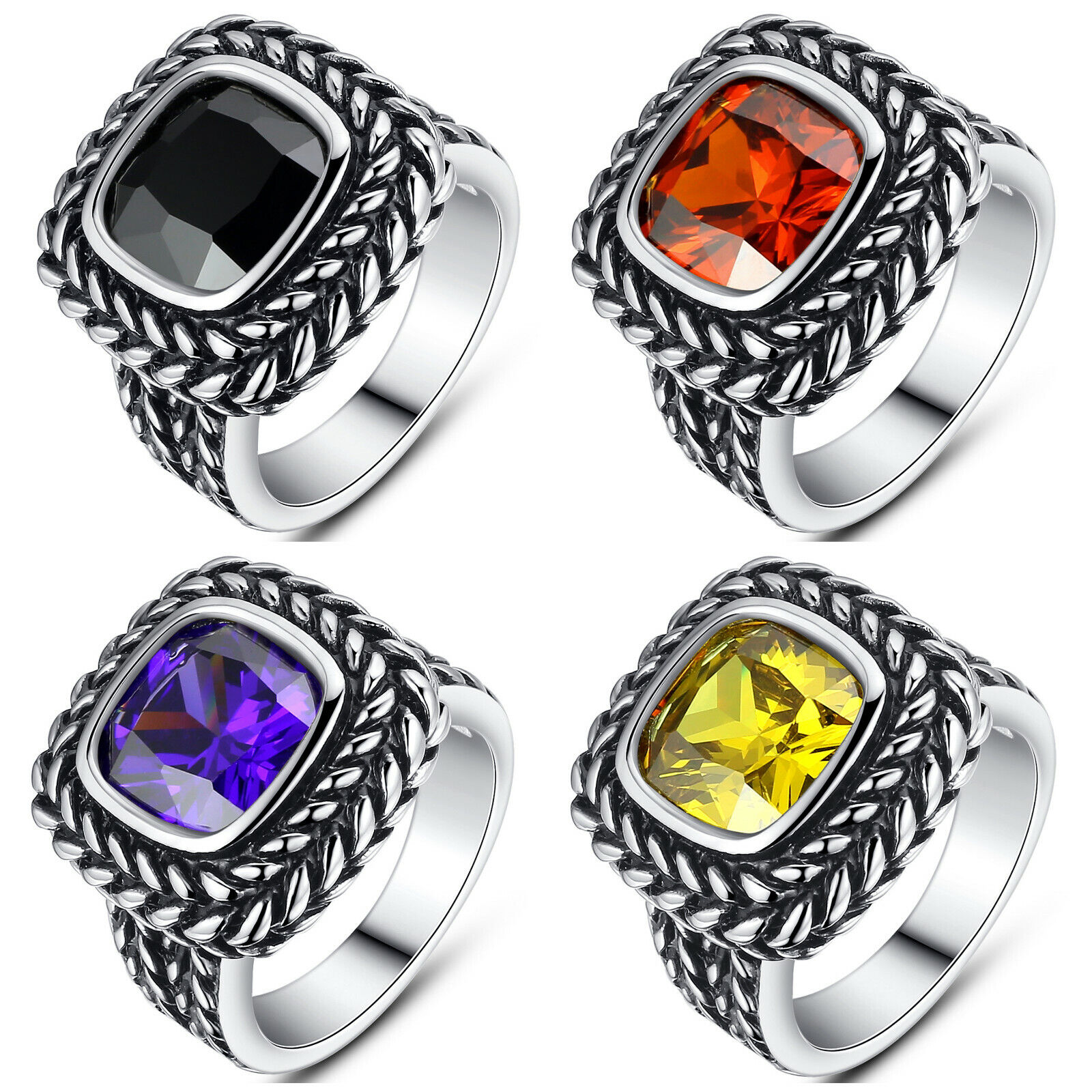 Women's Stainless Steel Vintage Square Cubic Zirconia Statement Cocktail Ring Fashion Jewelry