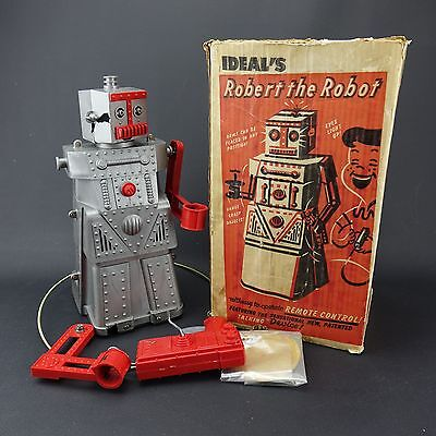 1950's vintage Ideal toys ROBERT THE ROBOT w/Original box & remote Control