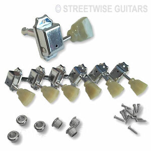 Guitar Machine Head Tuners Green Tulip Head For Les Paul, SG Set of 6 3+3 Chrome