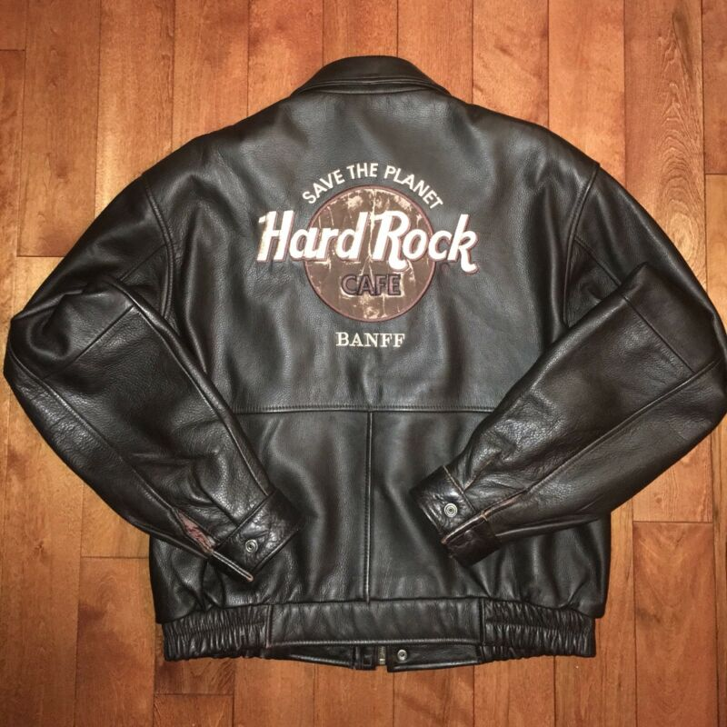 "Rare Vintage ""Save The Planet"" Hard Rock Cafe Leather Jacket Banff Size US M"