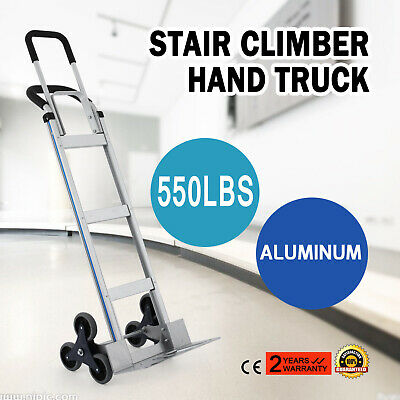 2 In 1 Aluminum Hand Truck Stair Climbing Hand Truck Cart Dolly 550lbs Home Use
