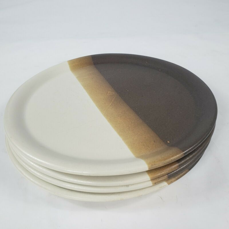 """(4) Dinner Plates round 10-3/8"""" Brown/Tan Stripes Sandstone Nelson MCCOY POTTERY"""