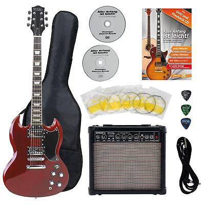 PROFESSIONAL ELECTRIC GUITAR SET AMPLIFIER GIGBAG CABLE PICKS STRINGS CHERRY NEW