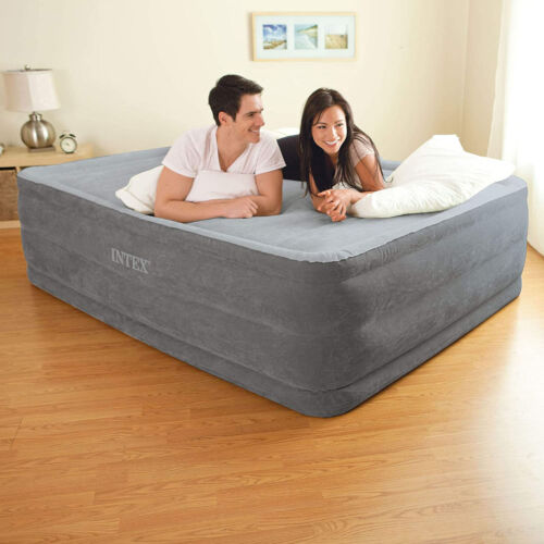 """Air Bed Mattress Queen Size 22"""" with Built-In Electric Pump Raised Intex Aerobed"""