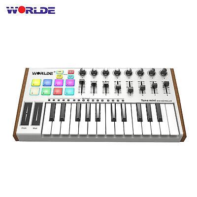 25-Key USB MIDI Keyboard Controller 8 RGB Backlit Trigger Pads 6.35mm Jack N6V2 - $77.72