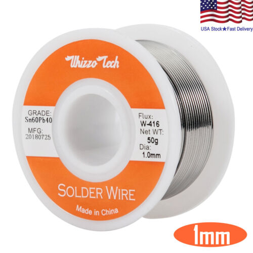 "60-40 Tin Lead Rosin Core Solder Wire Soldering Sn60 Pb40 Flux .039""/1.0mm 50g"