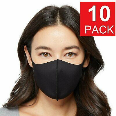 10 Pack – Black Washable Reusable Face Mask -| Unisex Accessories