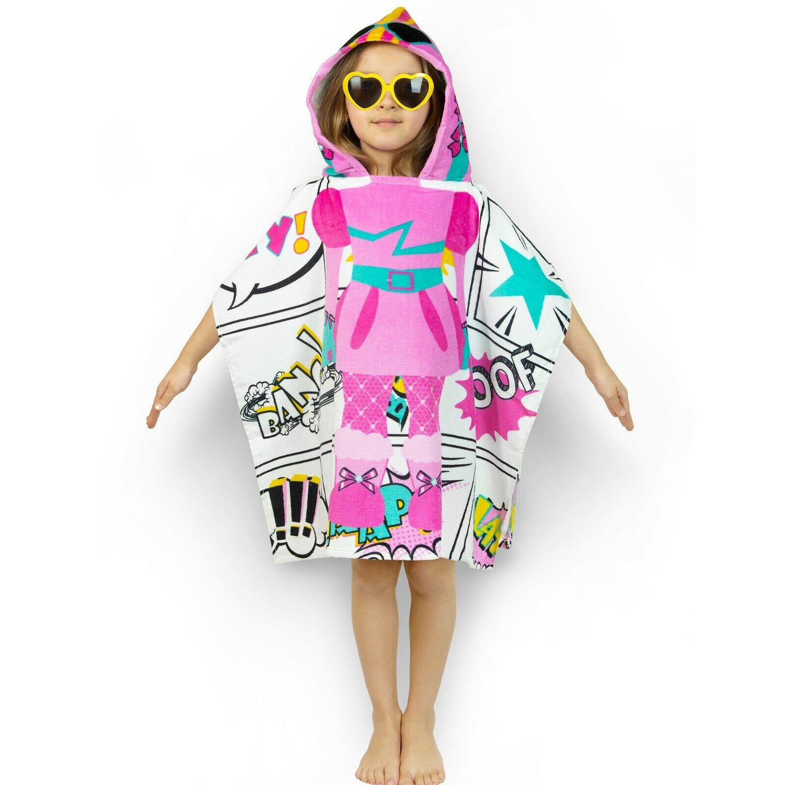 "Cute Kids Hooded Poncho Velour Towel ""Super Girl"""