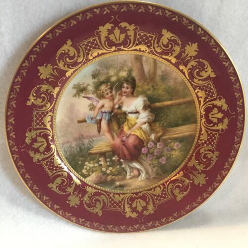 Antique Artist Signed Ullmer Royal Vienna Plate Beautiful Lady & Cupid Cherub