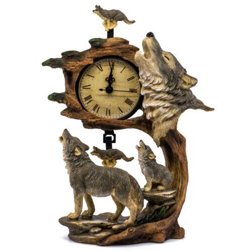 "Rustic Howling Wolves Swinging Pendulum Clock Figurine Resin 10.75"" High New!"