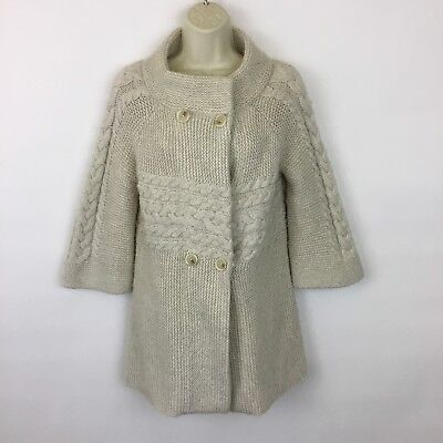 Ann Taylor LOFT chunky sweater Small ivory cable knit merino wool blend cardigan