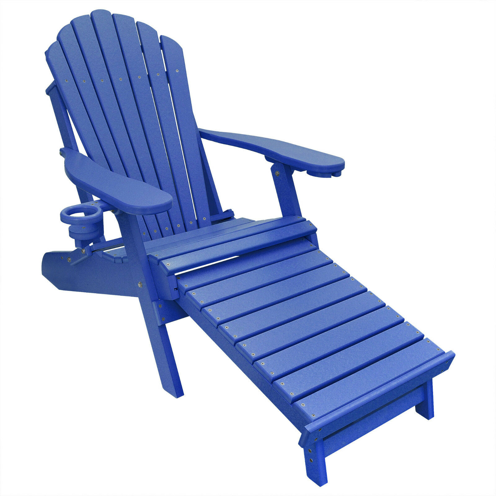 Deluxe Outer Banks Poly Adirondack Chair w/ Integrated Footr