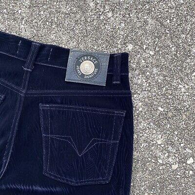 Vtg 90s Versace Blue Printed Velour Signature Jeans trousers pants 31x32 Medusa