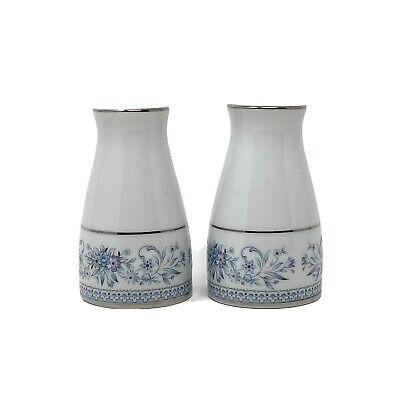 """Noritake """"Blue Hill"""" Salt and Pepper Shakers Blue White Sri Lanka"""
