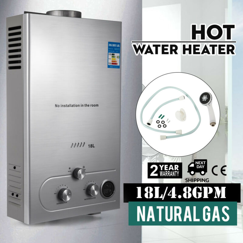 18L Natural Gas Hot Water Heater 5GPM On-Demand Tankless Instant Boiler Shower
