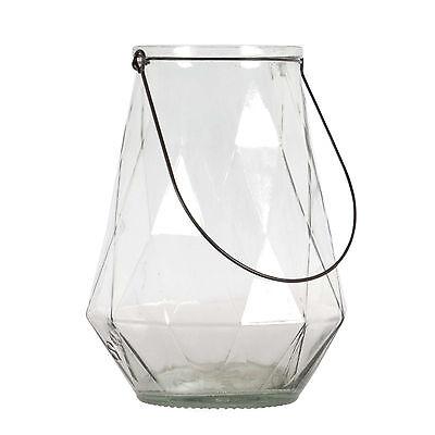 Laterne Rautenstruktur Glas 24,5 cm / Teelichthalter, Windlicht, Strukturglas ()