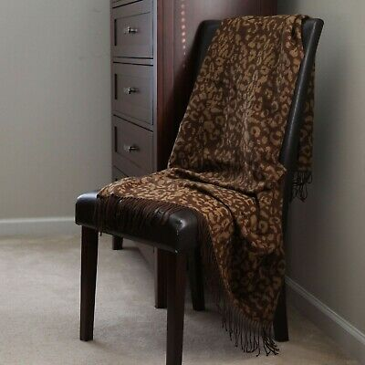 Lavish Home Jacquard Blanket Throw - Brown with Design 51 x 59 in Acrylic Jacquard Blanket
