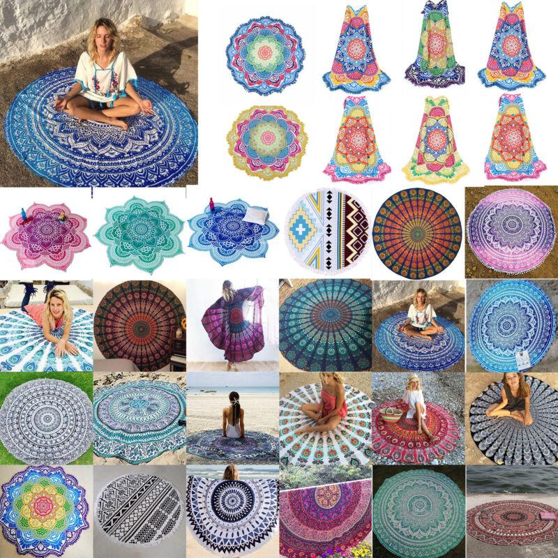 Boho Hippie Mandala Round Towel Tapestry Wall Decor Beach Th