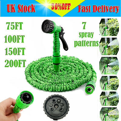 EXPANDABLE FLEXIBLE GARDEN HOSE PIPE EXPANDING FITTINGS + 7 SETTING SPRAY GUN AA