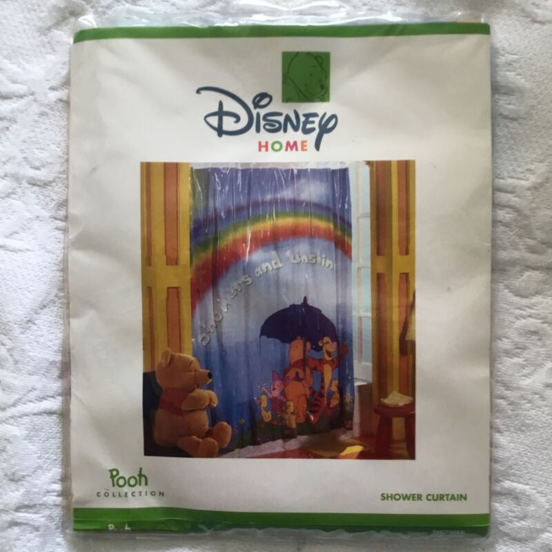 Disney Home POOH Collection Sunshine and Showers Vinyl Shower Curtain Tigger NEW