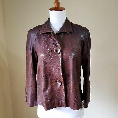 NWOT Dana Buchman 100% Leather Jacket Blazer Sz Petite Brown Womens Lined Crop