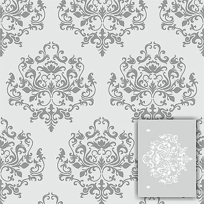 "Damask wall stencil kit *2 INCLUDED* LARGE 12""x9"" Faux Mural Pattern paint"