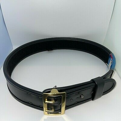 Bianchi 7960 Sam Browne Duty Belt Plain Black W Brass Buckle 38 - 40