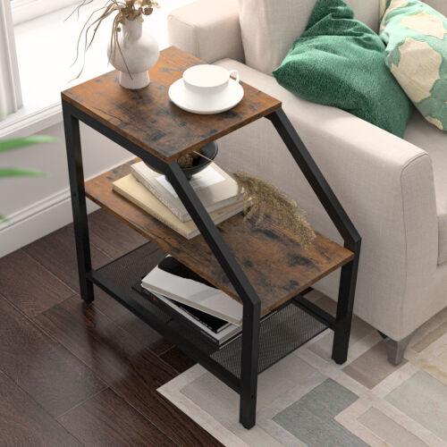 Side Table 3-Tier Narrow Nightstand with Storage Shelves Sofa End Table USA