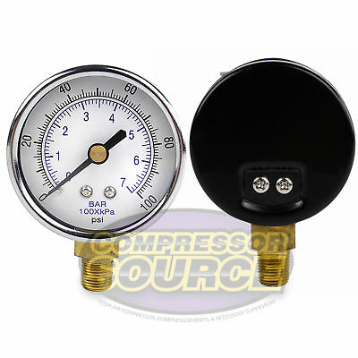 18 Npt Air Compressor Lower Mount Pressure Gauge 0-100 Psi Side Wog 2 Face
