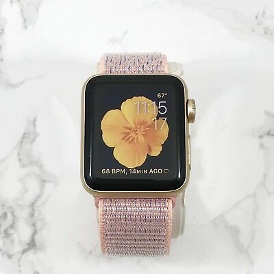 Apple Watch Gen 1 42mm Gold Aluminum Series 7000 Pink Sand Nylon Loop