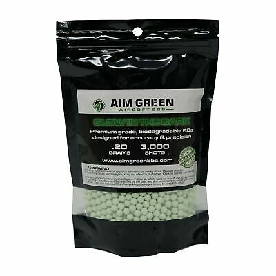 Aim Green: Glow in The Dark Biodegradable Airsoft BBS 6mm - 3,000 Tracer BBS...