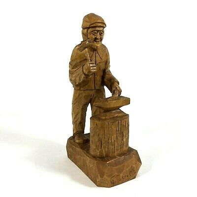 Gaston Turcotte Wood Carving Blacksmith Sculpture Quebec Artist Signed  for sale  Shipping to Canada