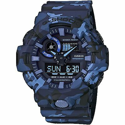 NEW Casio G-Shock Men's Blue Camo Analog-Digital Watch - GA-700CM-2ADR