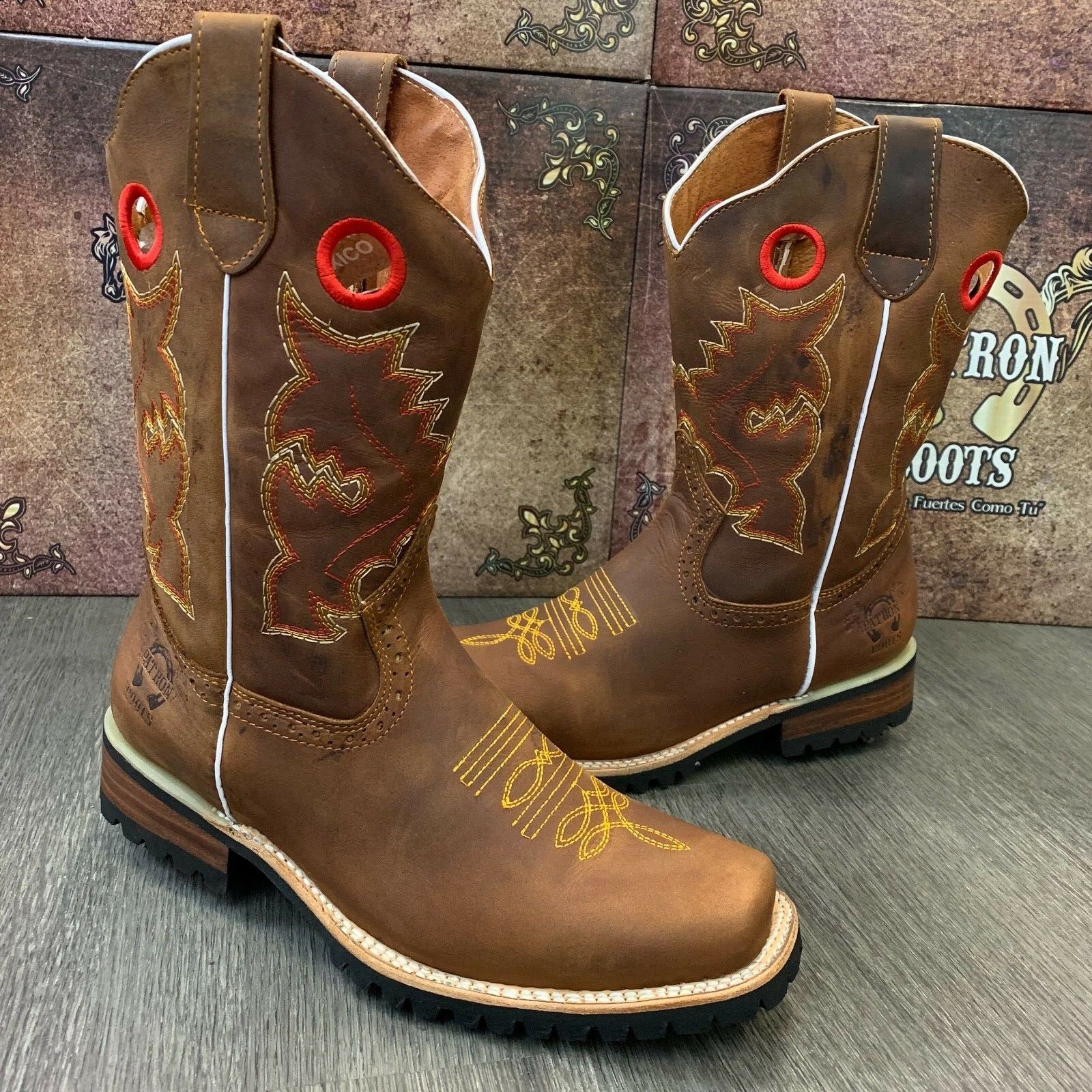 MEN'S BROWN BOOTS WESTERN COWBOY SQUARE TOE CRAZY LEATHER TRACTOR SOLE 1