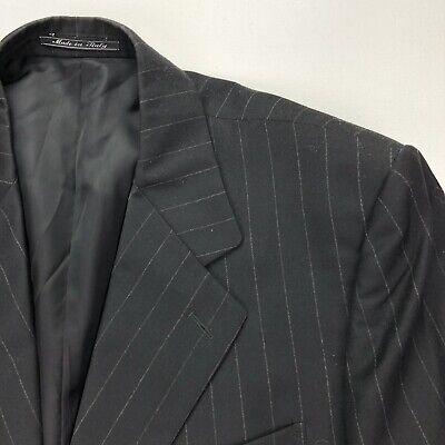 Bernini Men's 3-Button Wool Cashmere Blazer Jacket Black Stripes • 42 R 3 Button Black Stripe Jacket