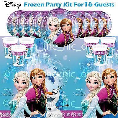 Disney FROZEN 2016 Anna Elsa Child's Birthday Party Tableware Pack For 16