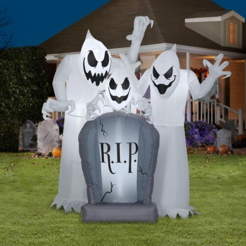 6 FT GHOST TRIO WITH TOMBSTONE Halloween Airblown Lighted Inflatable