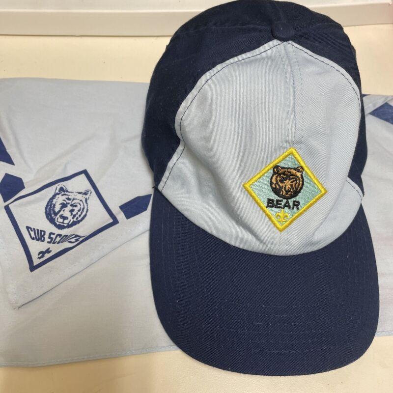 BSA Cub Scouts Bear Adjustable Strapback Cap Hat S/M With Neckerchief Scarf
