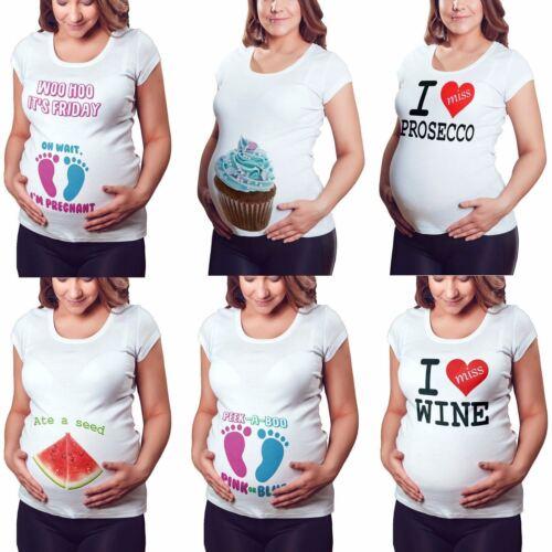 Women V Neck Pregnant Maternity Wear Baby Print Funny Short Sleeve T-Shirt Top S