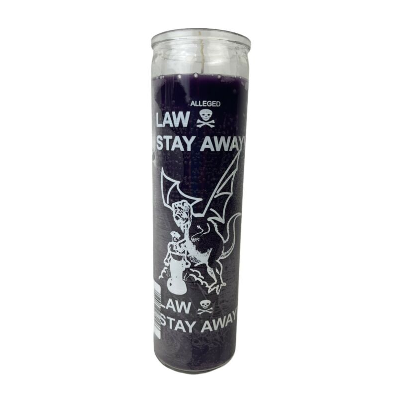 Purple 7 Day Law Stay Away Vela Ritual Spell, Candle