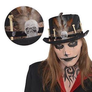 Adulto-Bruja-Doctor-Voodoo-Sombrero-De-Copa-FACILITADOR-Disfraz-Calavera-Huesos