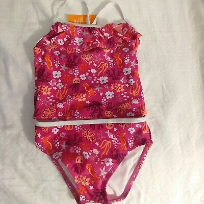 (Gymboree Toddler Girls Magenta Sea Print 2-Piece Tankini Swimsuit Swim Shop 2T )