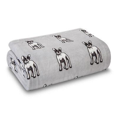 Dog French Bulldog Frenchie Blanket Throw Plush Cozy Animal Pet Lover, Grey