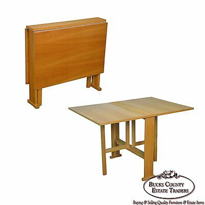 Mid Century Modern Narrow Drop Leaf Dining Table ()