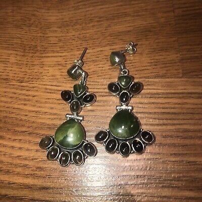 Vintage Sterling Silver Carved Jade Silver Screw Fit Earrings Taxco