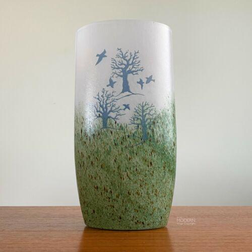 Kosta Boda Kjell Engman October Trees Birds Art Glass Vase 48232 Swedish Modern