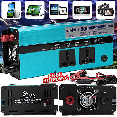 1500W/3000W WATT Car Caravan Modified Sine Wave Power Inverter DC 12V To AC 230V