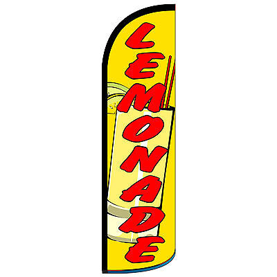 Windless Swooper Feather Flag Tall Banner Sign 3 Wide Lemonade Yellow Red