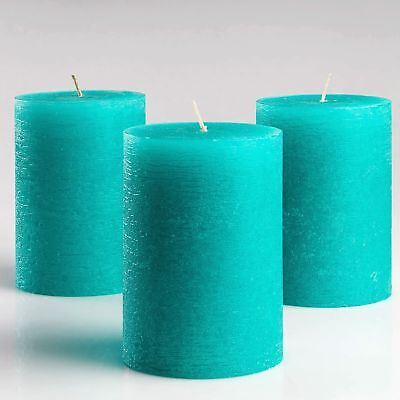 """Set of 3 Turquoise/Teal Pillar Candles 3"""" x 4"""" Unscented Fra"""
