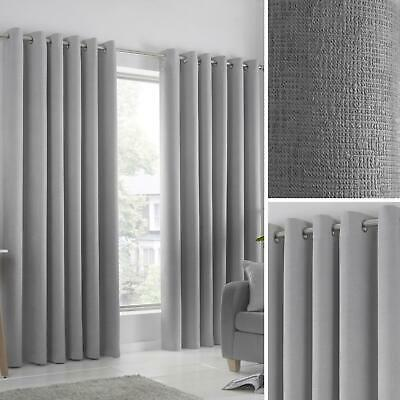 curtains - Grey Eyelet Curtains Silver Block-Out Thermal Ready Made Ring Top Curtain Pairs